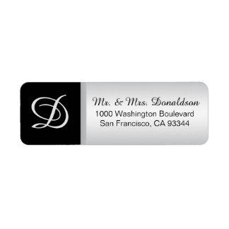 Modern Elegant Silver Black Monogram Initials Return Address Label