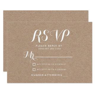 Modern elegant simple rustic brown kraft RSVP Card