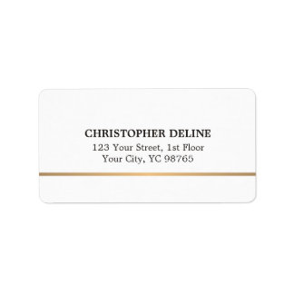 Modern Elegant Simple White Faux Copper Line Address Label