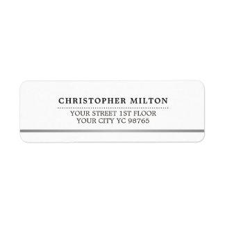 Modern Elegant Simple White Faux Silver Line Return Address Label
