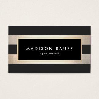 Modern Elegant Striped Black and FAUX Gold Foil 2