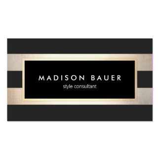 Modern Elegant Striped Black and FAUX Gold Foil 2 Pack Of Standard Business Cards