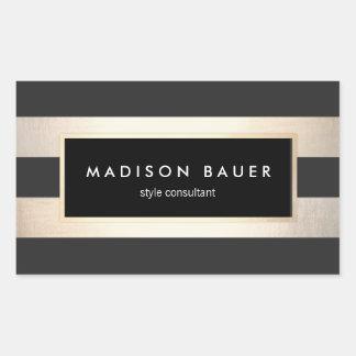 Modern Elegant Striped Black and FAUX Gold Foil Rectangular Sticker