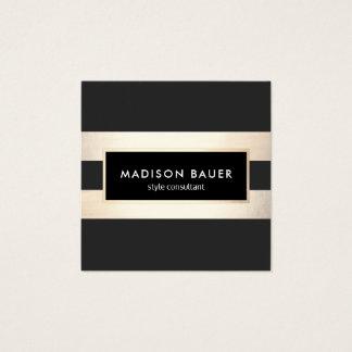 Modern Elegant Striped Black and FAUX Gold Foil Square Business Card