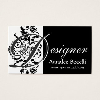 Modern Elegant Superchic Designer Monogram Black Business Card