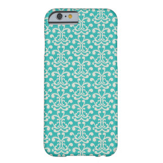 Modern Elegant Teal Damask Pattern Barely There iPhone 6 Case