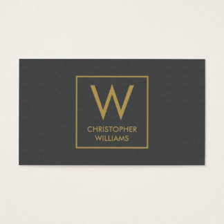 Modern Elegant Texture Grey Monogram Attorney Business Card