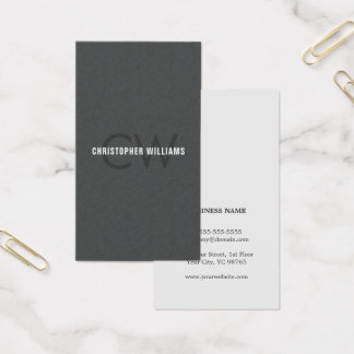 Modern Elegant Texture Grey Monogram Consultant Business Card