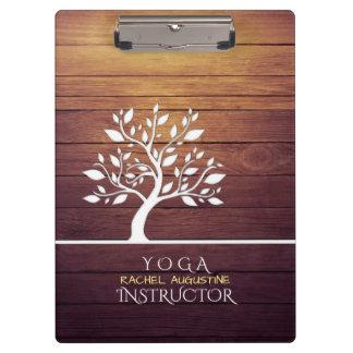 Modern Elegant Tree Vintage Wood Yoga Instructor Clipboard