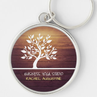 Modern Elegant Tree Vintage Wood Yoga Instructor Silver-Colored Round Key Ring