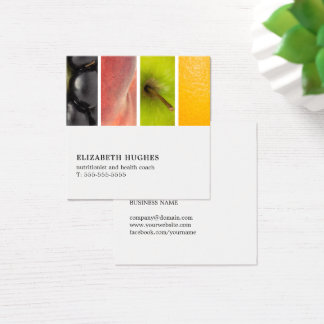Modern Elegant Unique Fruits Nutritionist Coach Square Business Card