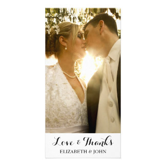 Modern Elegant Wedding Thank You Photo Card