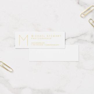 Modern Elegant White and Gold Monogram Mini Business Card