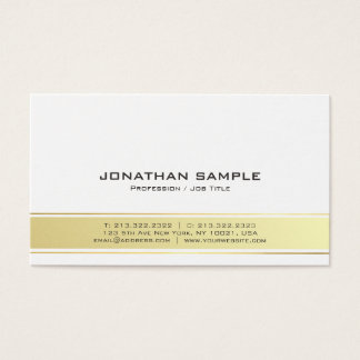 Modern Elegant White and Gold Professional Matte Business Card