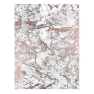 Modern elegant white faux rose gold marble postcard
