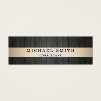 Modern Elegant Wood Background Faux Gold Striped Mini Business Card