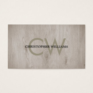 Modern Elegant Wooden Monogram Consultant Business Card