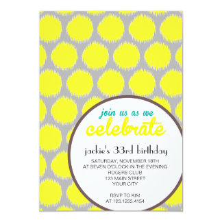 Modern Fabulous Ikat Grey Yellow Birthday Party Card