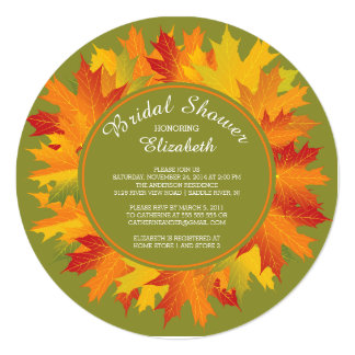 Modern Fall Autumn Bridal Shower Invitation