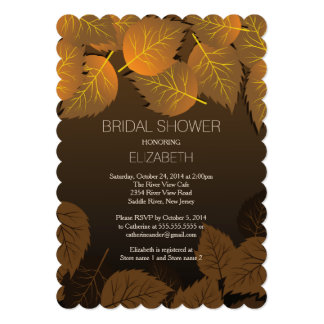 "Modern Fall Autumn Leaf Bridal Shower Invitation 5"" X 7"" Invitation Card"