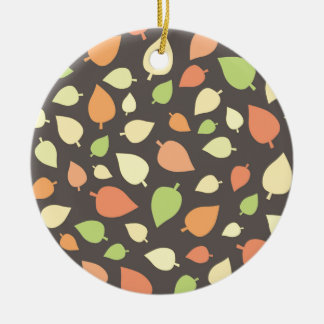 Modern Fall Leaves Round Ceramic Decoration
