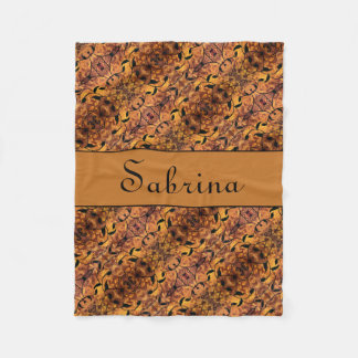 Modern Fall Leaves Silhouette Pattern Custom Name Fleece Blanket