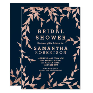 Modern fall rose gold branch navy bridal shower card