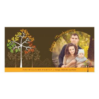 Modern Fall Trees Thanksgiving Holiday Photo Card