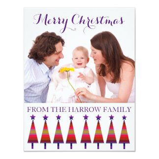 Modern Family Christmas Greeting Purple Star Trees Card