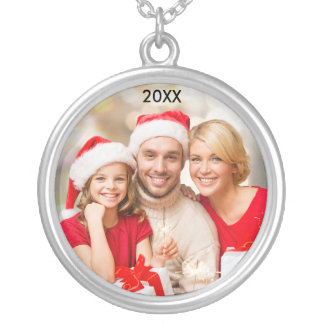 Modern Family Elegant Photo Christmas Necklace