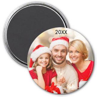 Modern Family Elegant Photo Year Christmas Magnet