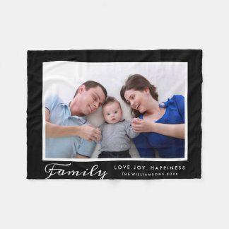 Modern Family Photo Template Script Words Custom Fleece Blanket