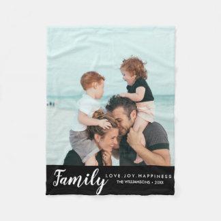 Modern Family Photo Template Your Words Custom Fleece Blanket