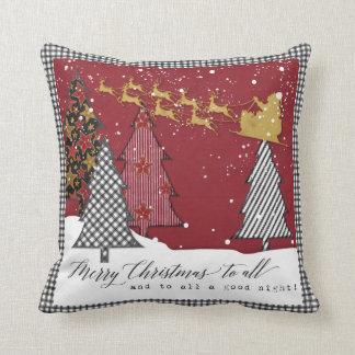 Modern Farm Merry Christmas Santa Sleigh Reindeer Cushion