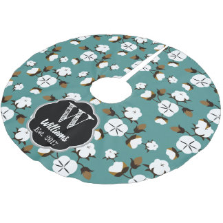 Modern Farmhouse Cotton Flowers & Teal Brushed Polyester Tree Skirt