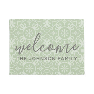 Modern Farmhouse Pattern Custom Family Name Doormat