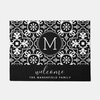 Modern Farmhouse Pattern Family Welcome Black Doormat