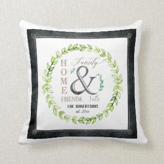 Modern Farmhouse Wreath Ampersand Home Family Name Cushion