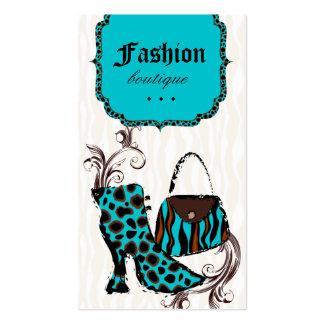 Modern Fashion Handbag Boot Leopard Zebra Blue Business Card Template