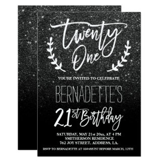 Modern faux black glitter typography 21st Birthday Card
