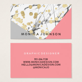 Modern faux chic gold splatters coral colorblock business card