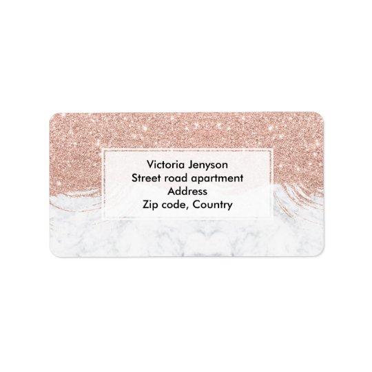 Modern faux glitter rose gold brushstrokes marble address label