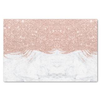 Modern faux glitter rose gold brushstrokes marble tissue paper