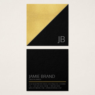 Modern Faux Gold and Black Monogram Square Business Card