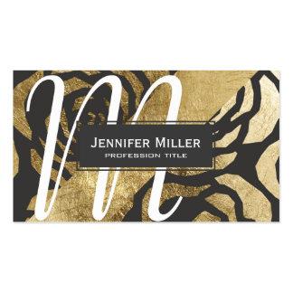 Modern Faux Gold & Black Floral Pattern Monogram Pack Of Standard Business Cards