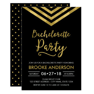 Modern Faux Gold Chevron Bachelorette Party Card