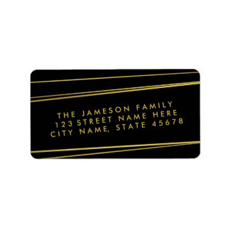 Modern Faux Gold Foil Address Label / Black
