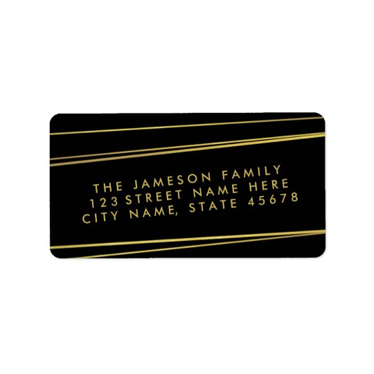 Modern Faux Gold Foil Address Label / Black