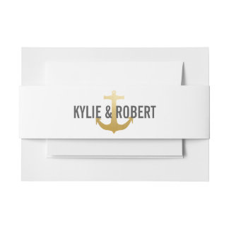 Modern Faux Gold Foil Anchor Nautical Wedding Invitation Belly Band