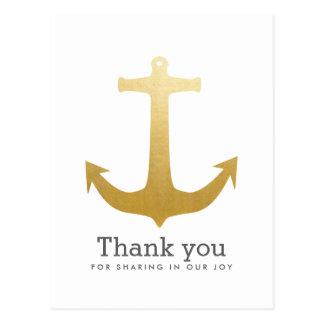 Modern Faux Gold Foil Anchor Nautical Wedding Postcard